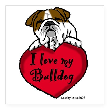 "Bulldogheart Square Car Magnet 3"" x 3"""
