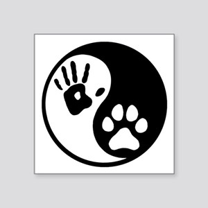 "Human & Dog Yin Yang Square Sticker 3"" x 3"""