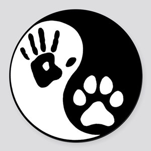 Human & Dog Yin Yang Round Car Magnet