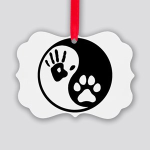 Human & Dog Yin Yang Picture Ornament