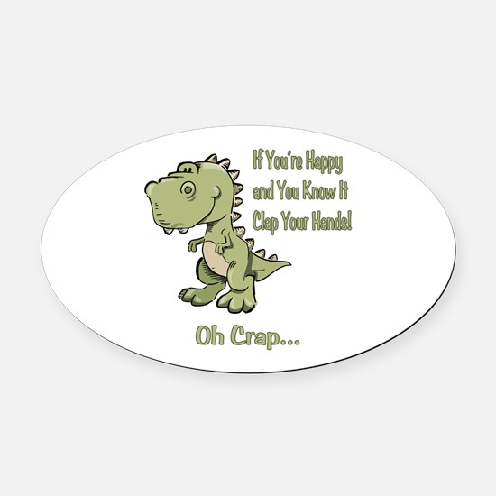 Happy TRex Oval Car Magnet
