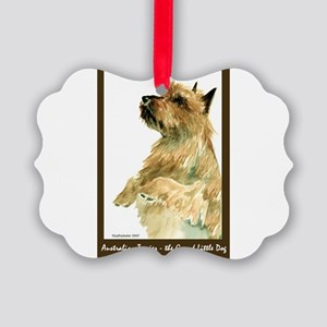 Red AustralianTerrierBeg Picture Ornament