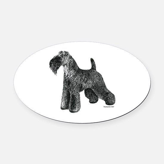 Kerry_Blue_Terrier002.png Oval Car Magnet