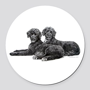 Portuguese Water Dogs Round Car Magnet
