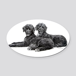Portuguese Water Dogs Oval Car Magnet