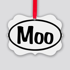 Moo Oval Picture Ornament