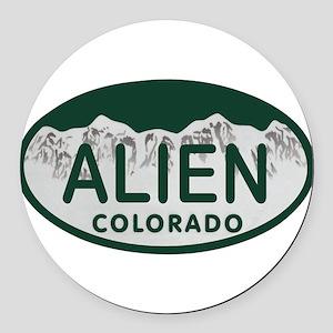 Alien Colo License Plate Round Car Magnet