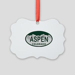Aspen Colo License Plate Picture Ornament