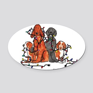 dogchristmasparty Oval Car Magnet