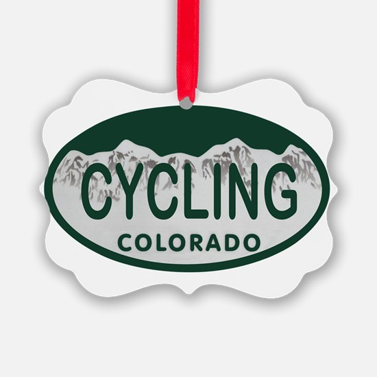 Cycling Colo License Plate Ornament
