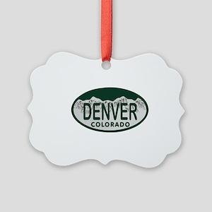 Denver Colo License Plate Picture Ornament