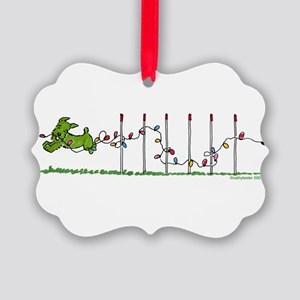 Agility Christmas Lights Picture Ornament