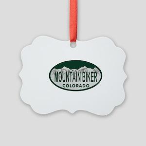 Mountan Biker Colo License Plate Picture Ornament