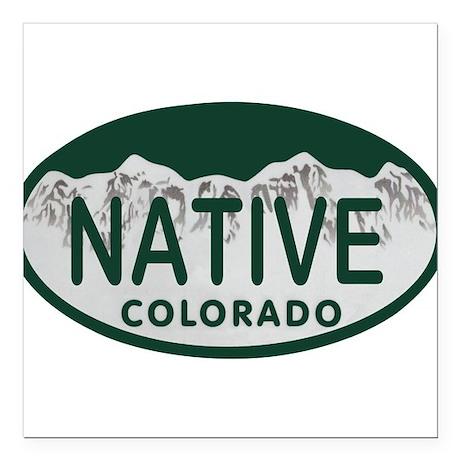"""Native Colo License Plate Square Car Magnet 3"""" x 3"""