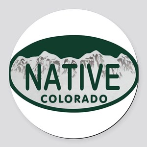 Native Colo License Plate Round Car Magnet