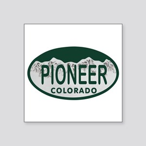 "Pioneer Colo License Plate Square Sticker 3"" x 3"""