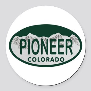 Pioneer Colo License Plate Round Car Magnet