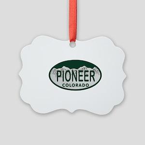 Pioneer Colo License Plate Picture Ornament