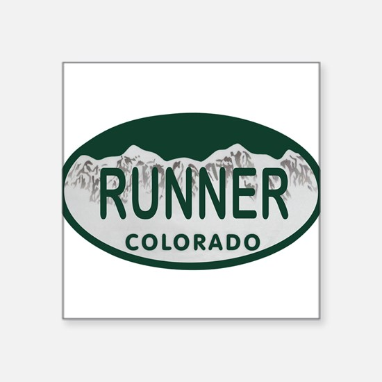 """Runner Colo License Plate Square Sticker 3"""" x 3"""""""