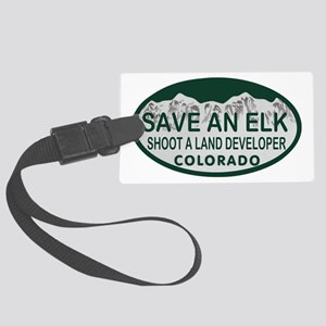 Save an Elk Colo License Plate Large Luggage Tag