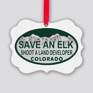 Save an Elk Colo License Plate Picture Ornament