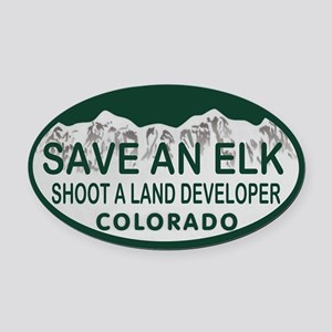 Save an Elk Colo License Plate Oval Car Magnet