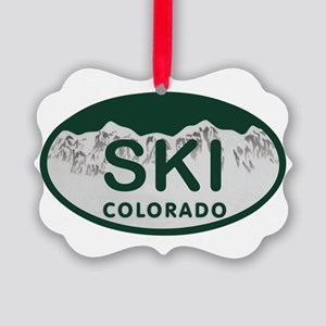 Ski Colo License Plate Picture Ornament
