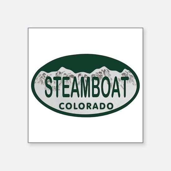 """Steamboat Colo License Plate Square Sticker 3"""" x 3"""