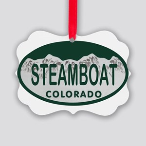 Steamboat Colo License Plate Picture Ornament