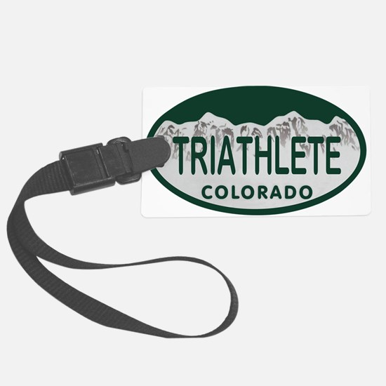 Triathlete Oval Colo License Plate Luggage Tag