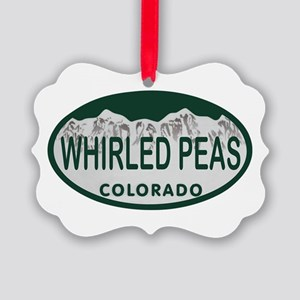 Whirled Peas Colo License Plate Picture Ornament