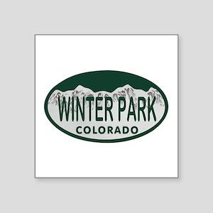 """Winterpark Colo License Plate Square Sticker 3"""" x"""