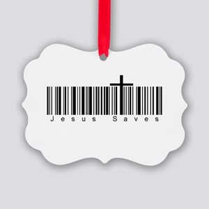 Bar Code Jesus Saves Picture Ornament