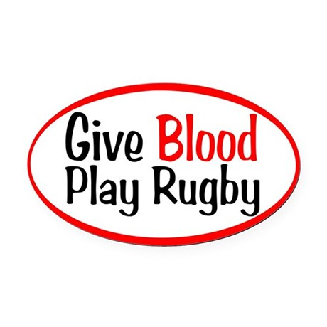 Give Blood_Rugby.png Oval Car Magnet