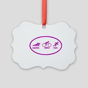 Swim Bike Run Picture Ornament