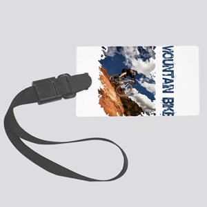 Mountain Bike Blue Sky Large Luggage Tag