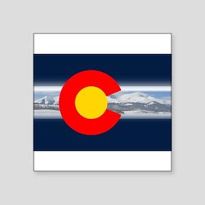 """CO_Flag_Mountain Square Sticker 3"""" x 3"""""""