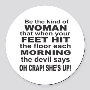 Oh Crap Devil Round Car Magnet