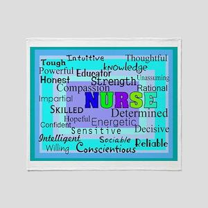 Nurse Blanket Blues Greens.PNG Throw Blanket