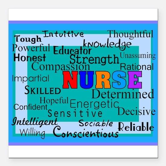 """Nurse Blanket blue.PNG Square Car Magnet 3"""" x 3"""""""