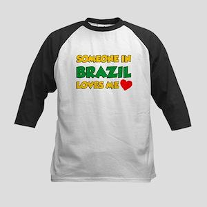 Someone In Brazil Loves Me Kids Baseball Jersey