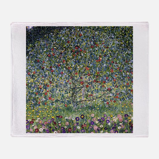 Gustav Klimt Apple Tree Throw Blanket