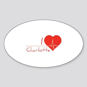 I love Charlotte Sticker (Oval)