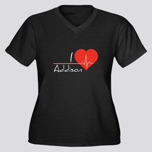 I love Addison Women's Plus Size V-Neck Dark T-Shi