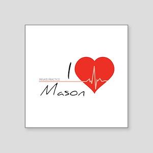 "I love Mason Square Sticker 3"" x 3"""