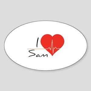 I love Sam Sticker (Oval)
