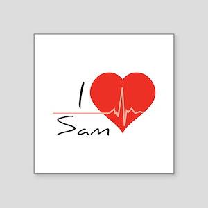 """I love Sam Square Sticker 3"""" x 3"""""""
