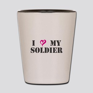 I Heart My Soldier Shot Glass