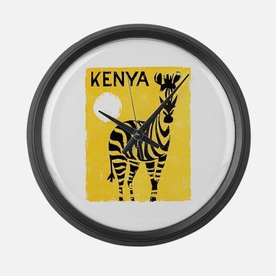 Kenya Travel Poster 1 Large Wall Clock