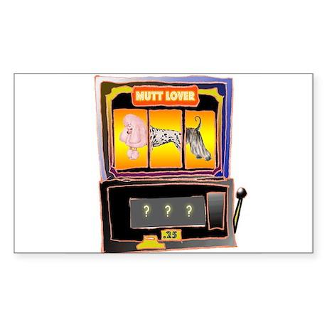 """Mutt Lover Slot Machine"" Rectangle Sticker"